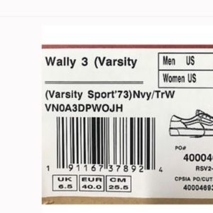 Vans Wally 3 Varsity Sport '73 Navy True White * NWT